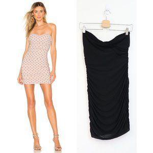NBD Lynx Polka Dot Ruched Strapless Bodycon Dress